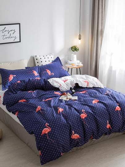 1.8m 4Pcs Flamingo Polka Dots Duvet Cover Set