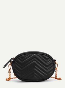Chevron Detail PU Bum Bag With Convertible Strap