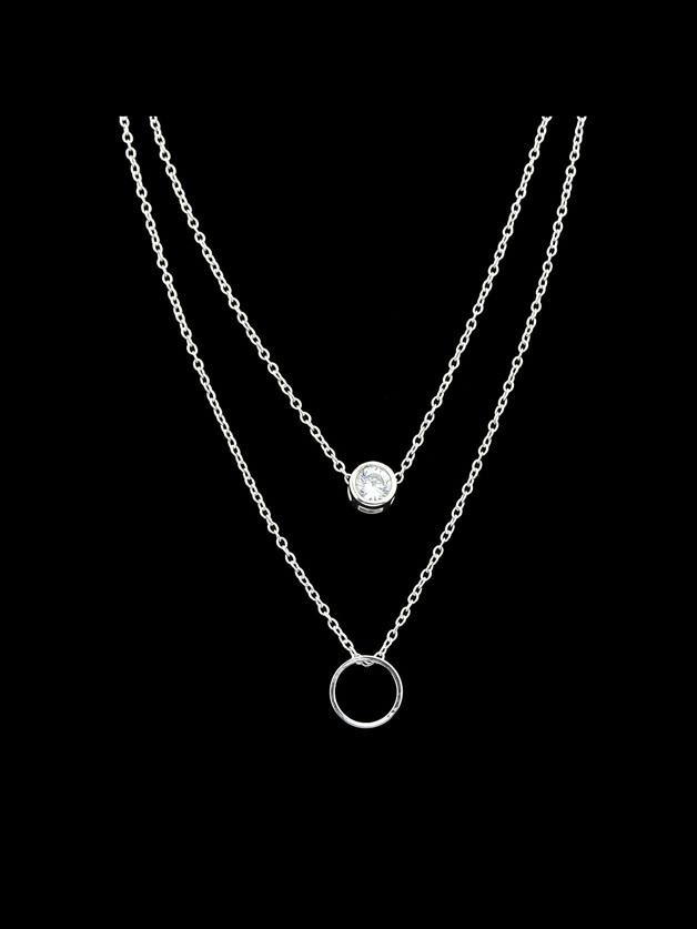 Silver Simple Pendant Multi-Layer Necklace