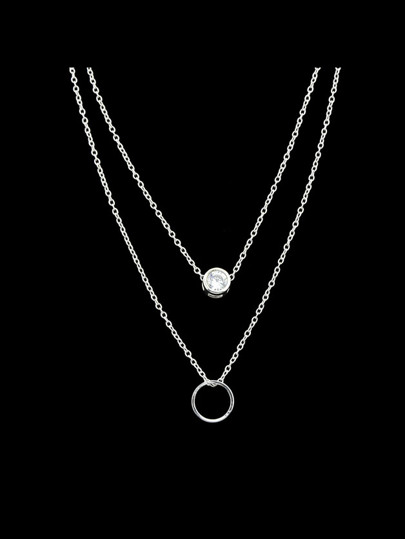 Silver Simple Pendant Multi-Layer Necklace