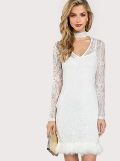 Choker Neck Faux Feather Hem Lace Dress Without Cami