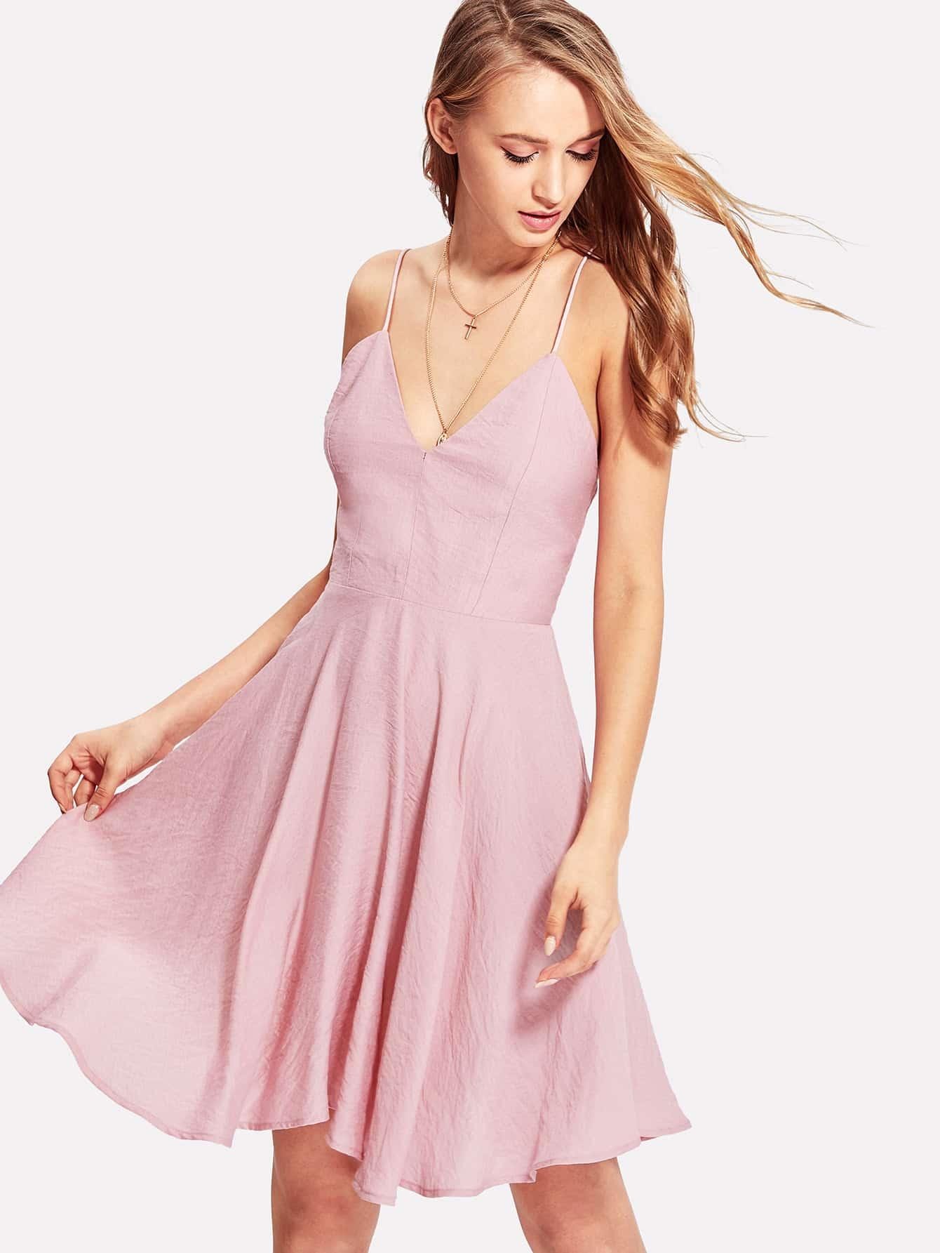 Crisscross Back Skater Cami Dress crisscross slit back fitted cami dress