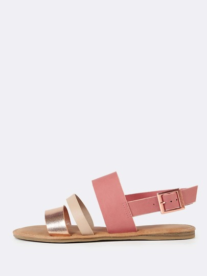 Three Strap Slingback Sandals ROSE GOLD