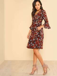 Printed Self Tie Front Wrap Dress BRICK