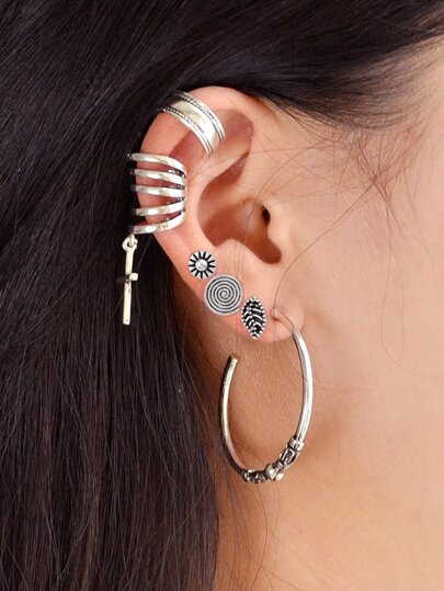 6Pcs/Set Indian Jewelry Roud Leaf Stud Earrings