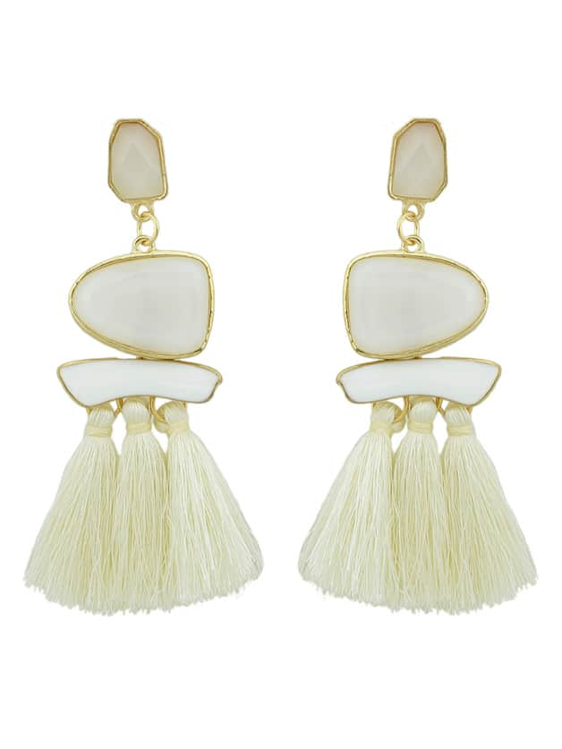Beige Bohemian Style Ethnic Statement Big Tassel Drop Earrings ethnic hollow out statement drop earrings