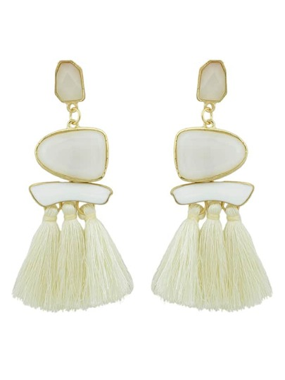 Beige Bohemian Style Ethnic Statement Big Tassel Drop Earrings