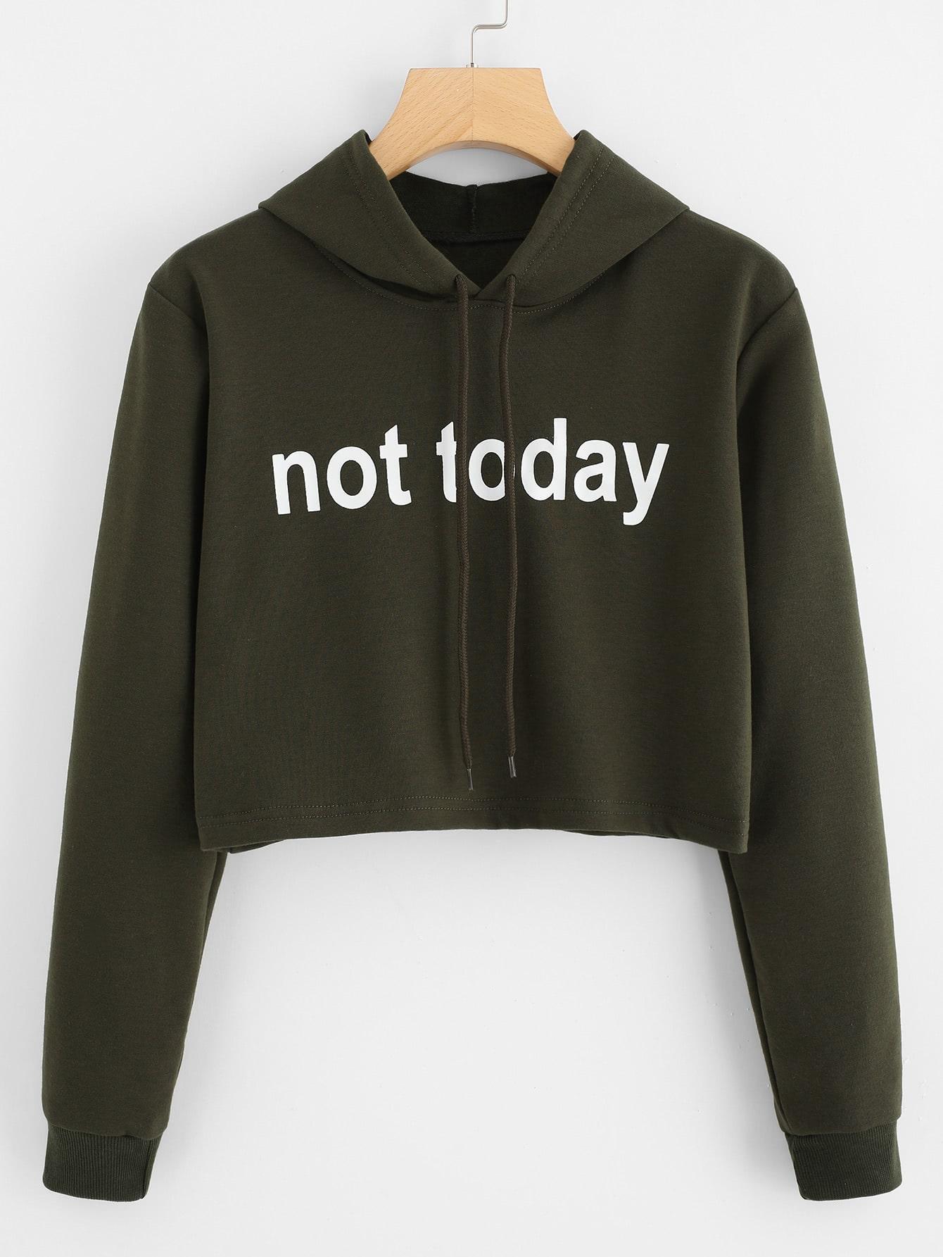 Slogan Print Crop Hoodie letters print crop hoodie