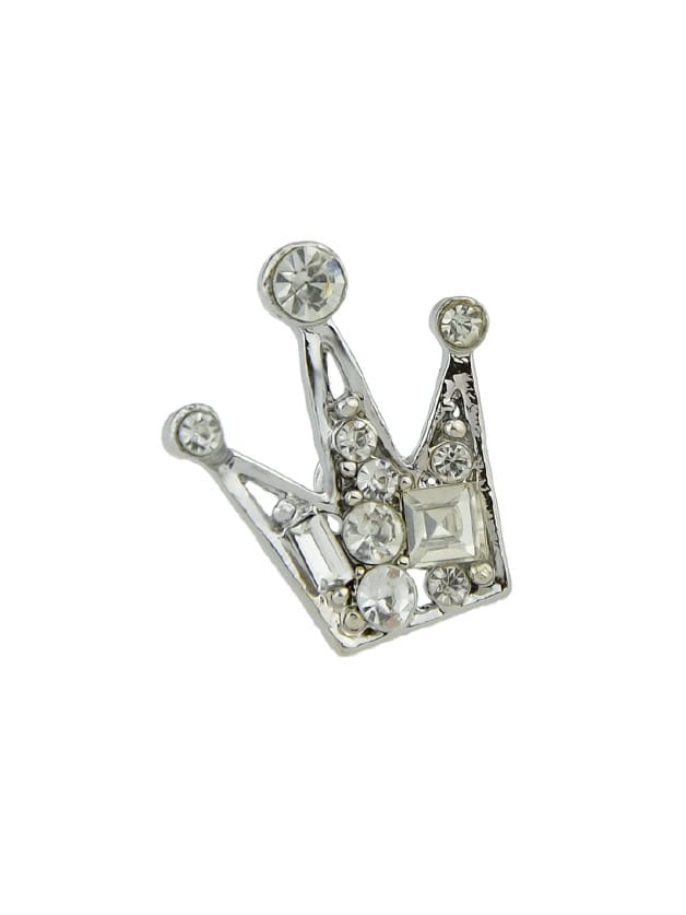 Silver Rhinestone Crown Brooch High Quality Women Accessories the silver crown