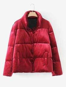 Stand Collar Velvet Padded Coat