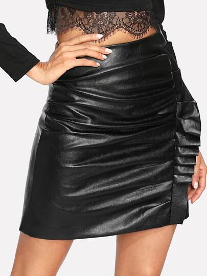 Ruffle Detail Ruched PU Leather Skirt