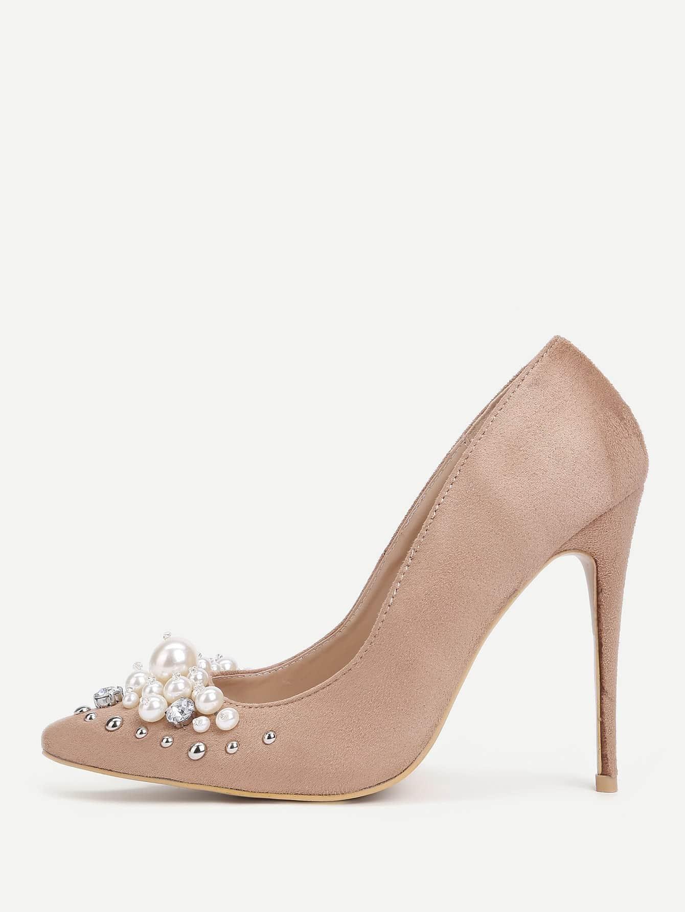 Купить Модные туфли на каблуках с бусинами, null, SheIn