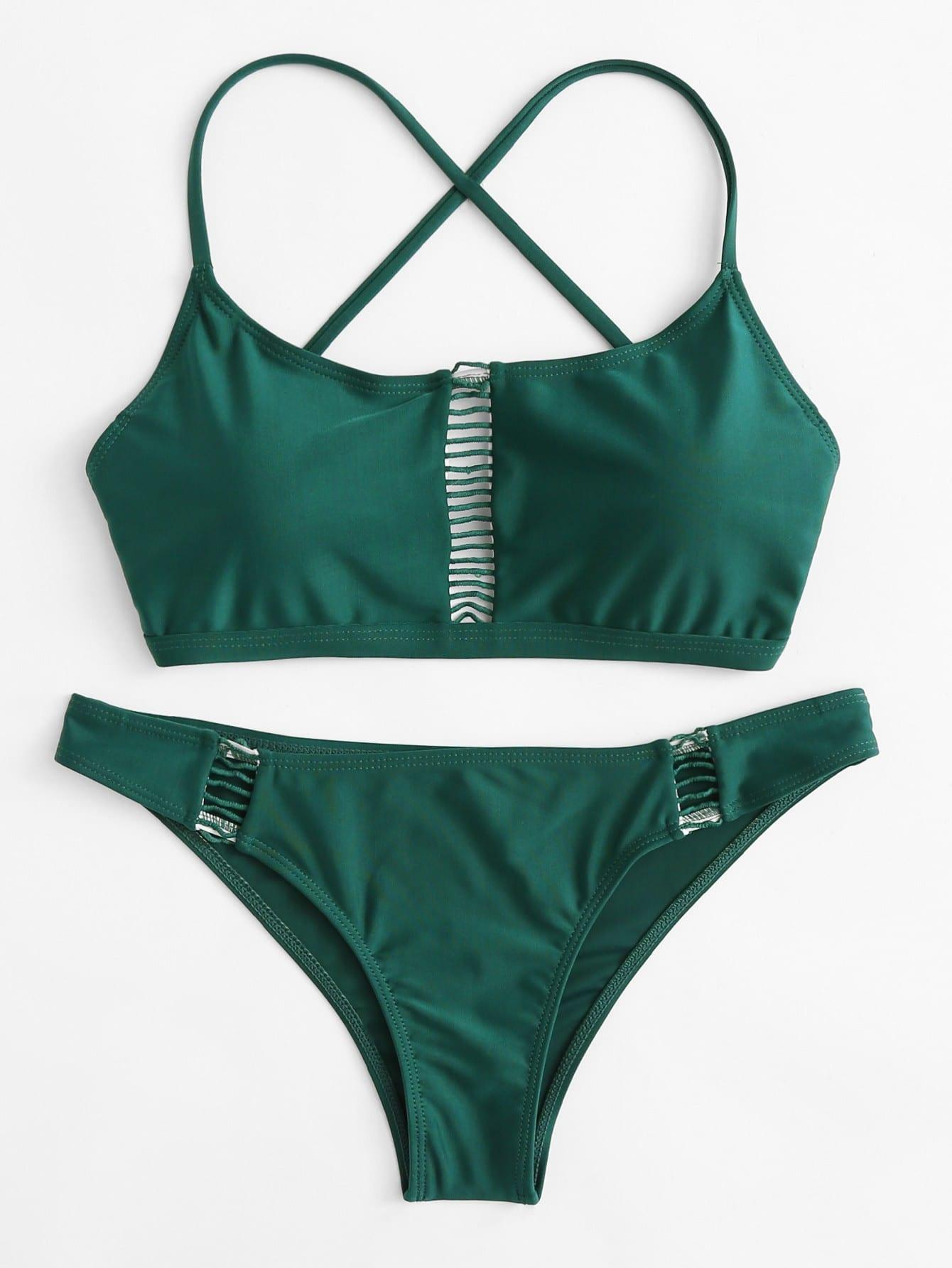 Фото Ladder Cut Out Cross Back Bikini Set checker knot bikini set