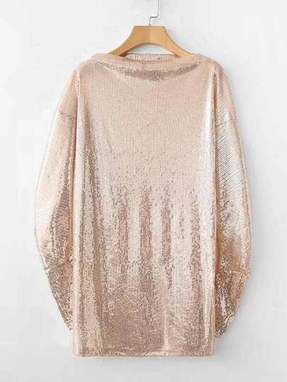 Boat Neck Metallic Sequin Dress