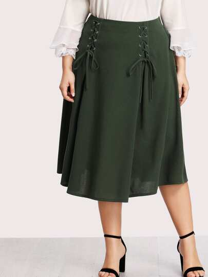 Whipstitch Side Solid Skirt