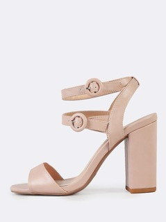 Patent Double Ankle Strap Chunky Heels BLUSH