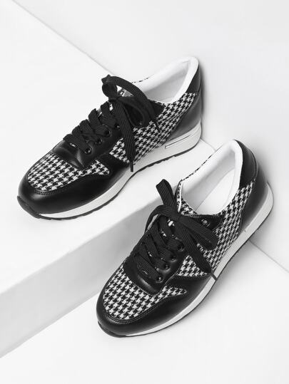Houndstooth Lace Up Slip On Sneakers