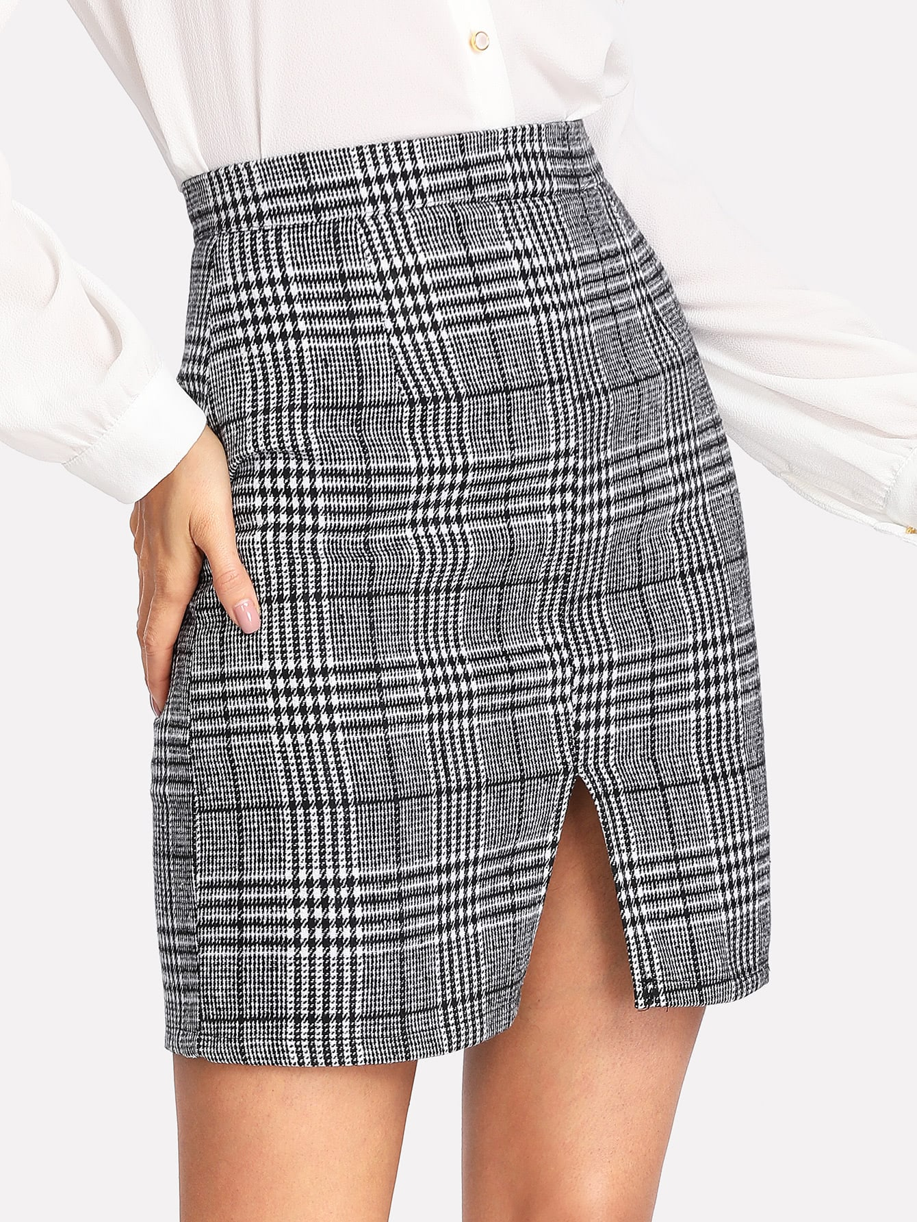 Split Front Wales Check Skirt