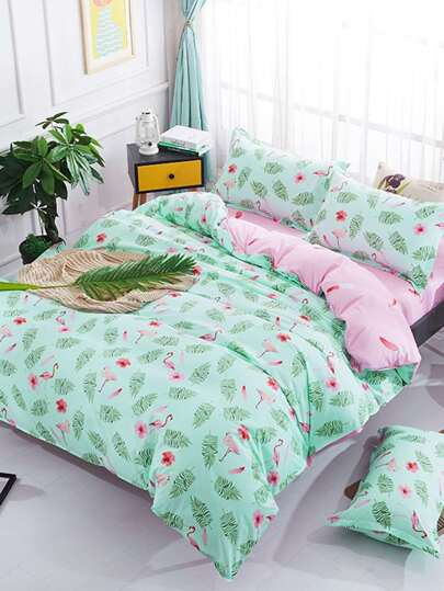 2.2m 4Pcs Flamingo Print Duvet Cover & Sheet & Sham Set