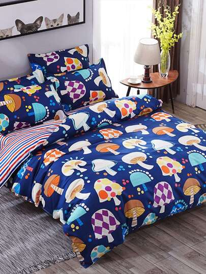 1.5m 4Pcs Mushrooms Print Duvet Cover Set