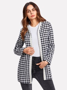 Pearl Embellished Open Front Houndstooth Coat
