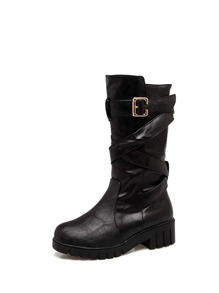 Criss Cross Strap Detail Mid Calf Boots