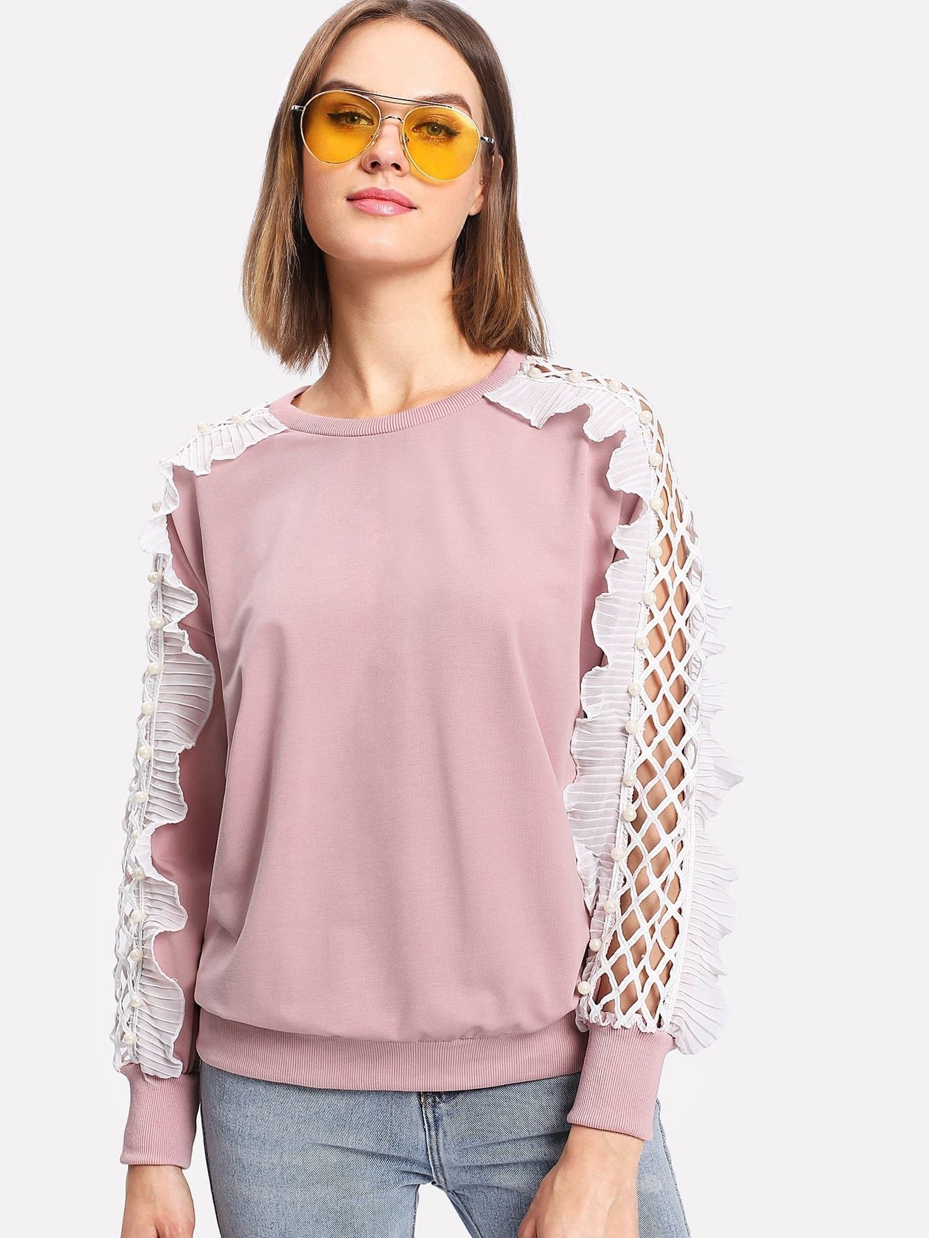 Faux Pearl Detail Ruffle Contrast Sweatshirt frill layered pearl detail sweatshirt dress