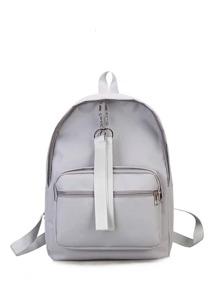 Ribbon Zipper Canvas Backpack