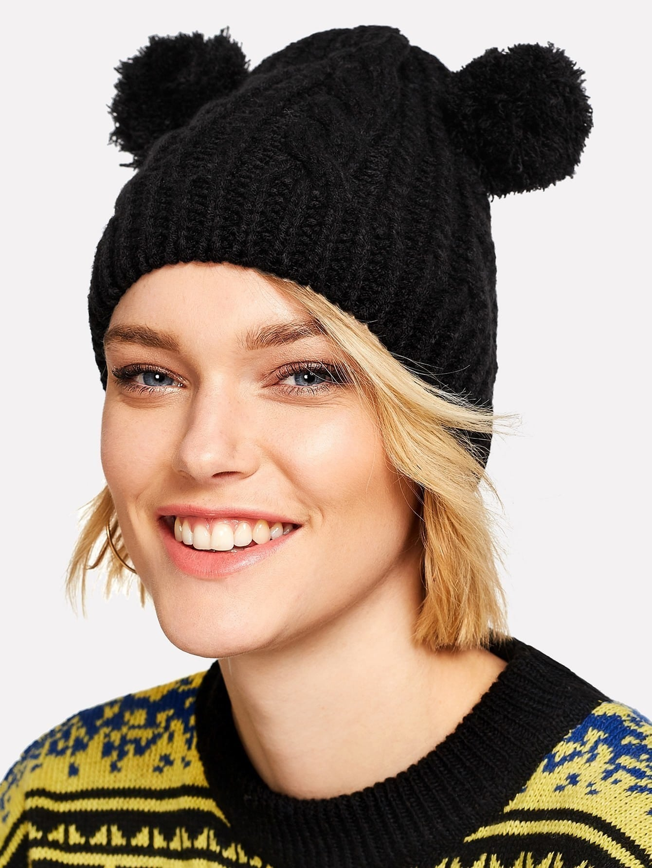 Pom Pom Ear Knit Beanie Hat