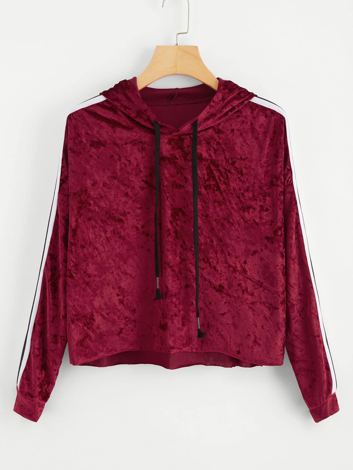 Stripe Tape Drop Shoulder Raw Hem Marled Hoodie drop shoulder marled sweatshirt dress with corset belt
