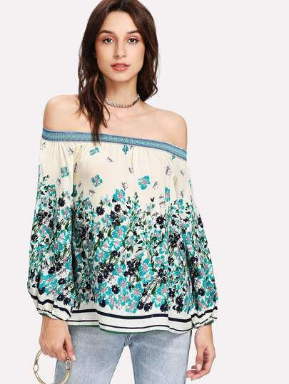 Botanical Print Bardot Top