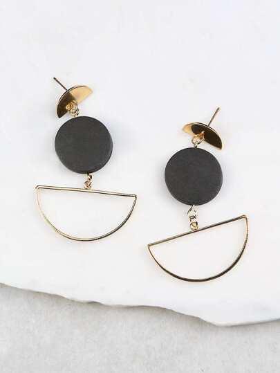 Geometric Dangling Earrings BLACK