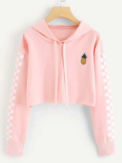 Pineapple Embroidered Gingham Crop Hoodie