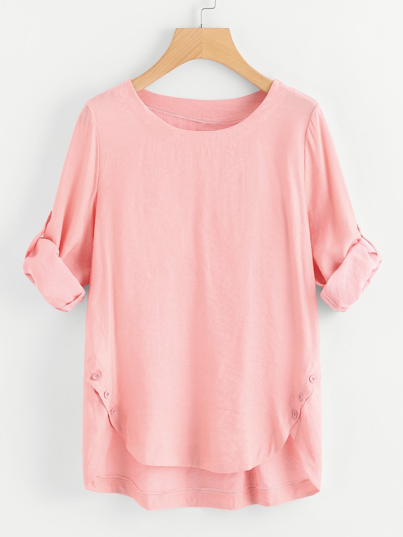 Roll Up Sleeve Asymmetrical Hem Tee roll up sleeve button front tee