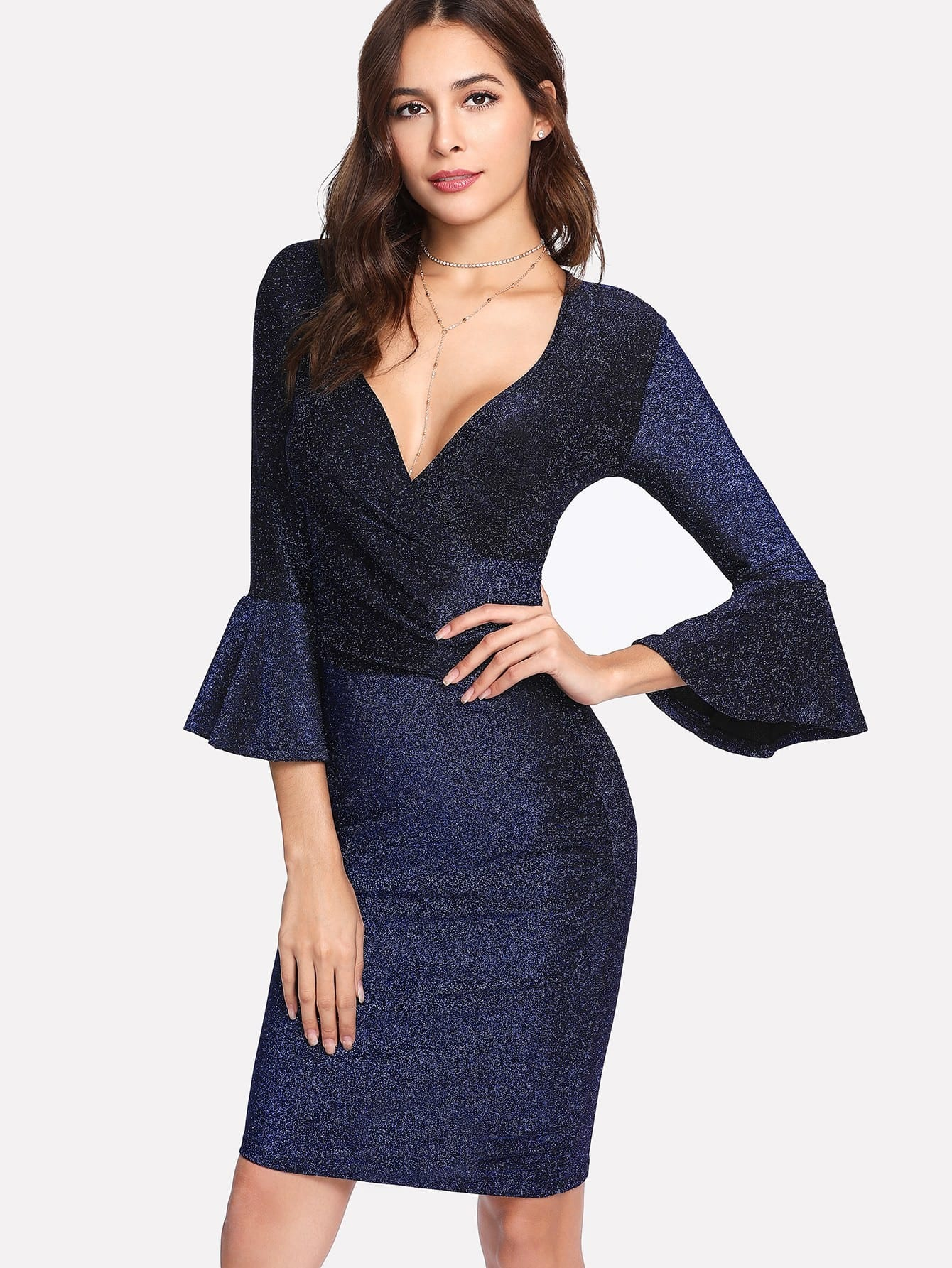 Trumpet Sleeve Glitter Wrap Dress корпус in win emr016 450w black silver