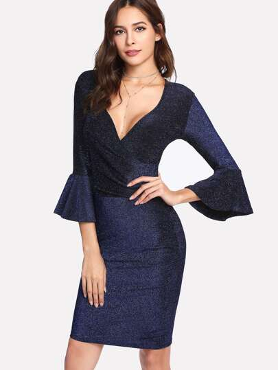 Trumpet Sleeve Glitter Wrap Dress
