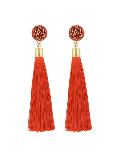 Red Ethnic Jewelry Flower Decoration Long Tassel Drop Earrings
