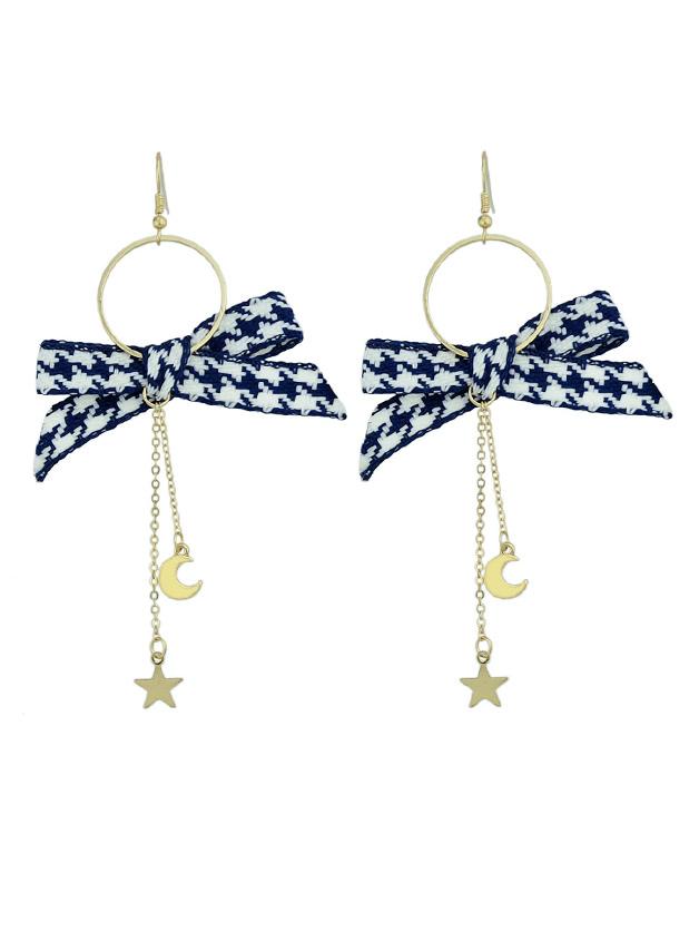 Black Bowknot Shape Long Chain Dangle Earrings