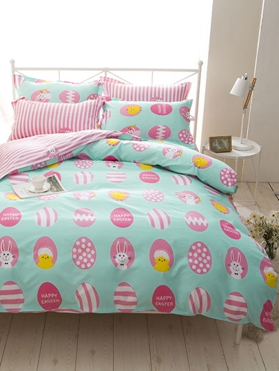 1.5m 4Pcs Tier Muster Streifen Bed Sheet Set