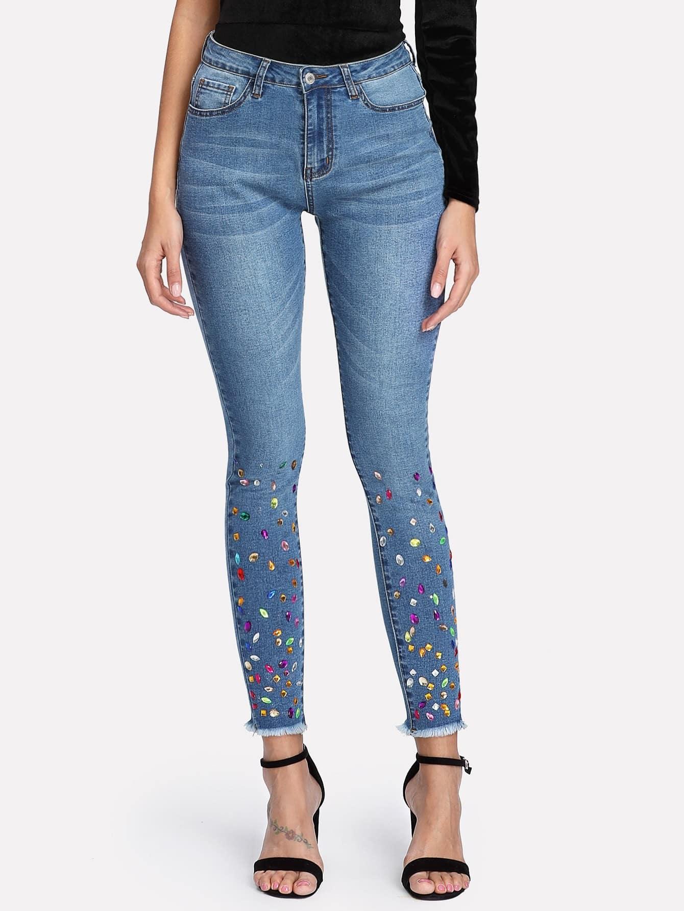 Rhinestone Detail Raw Hem Jeans