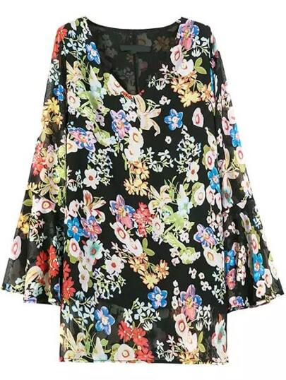 V Neck Bell Sleeve Florals Chiffon Shift Dress
