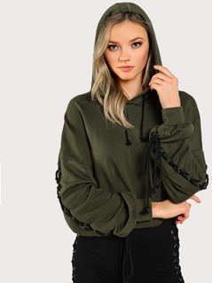 Lace Up Bishop Sleeve Hoodie