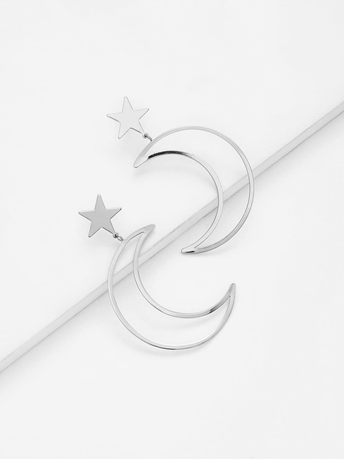 Hollow Moon & Star Design Drop Earrings two tone hollow face design drop earrings
