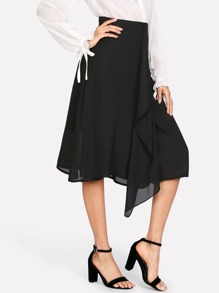 Zipper Back Flounce Embellished Skirt