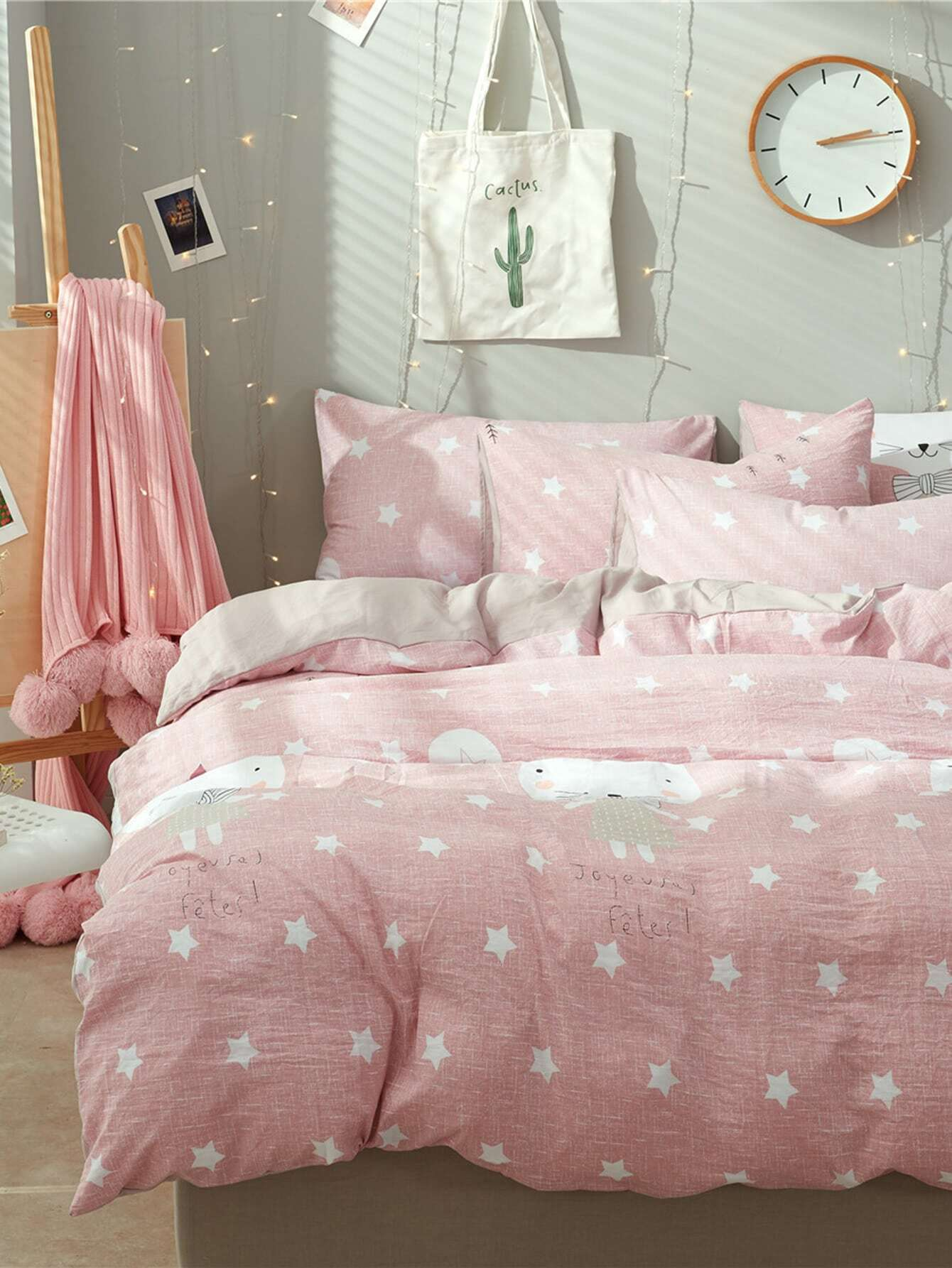 2.0m 4Pcs Cartoon And Star Print Duvet Cover Set