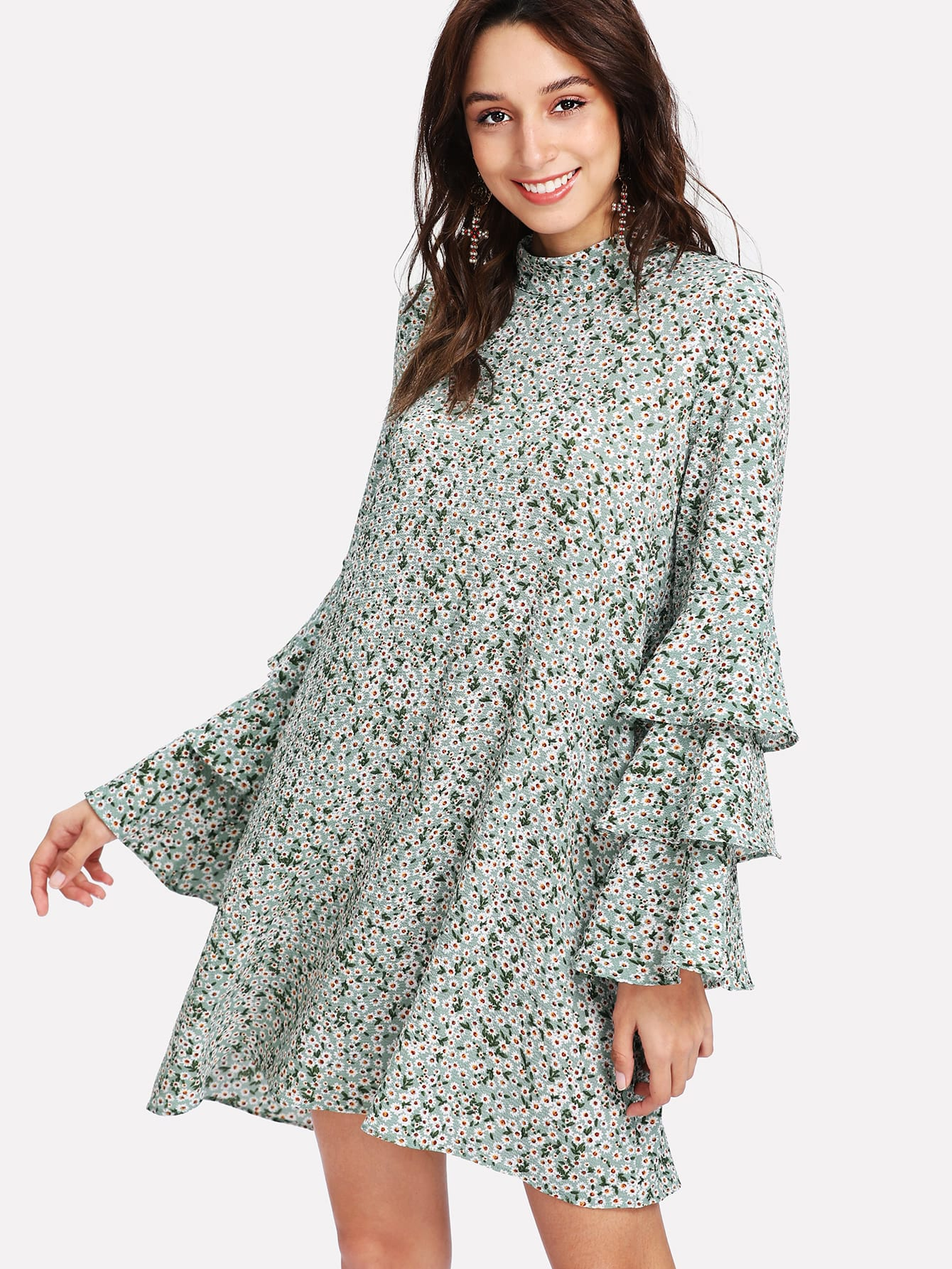 Layered Sleeve Daisy Print Dress pearl detail layered frill sleeve top