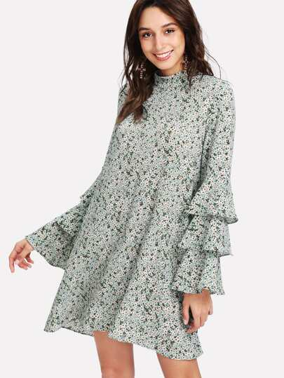 Layered Sleeve Daisy Print Dress