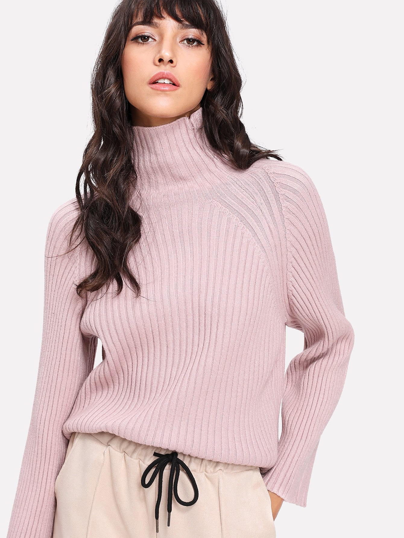 High Neck Raglan Sleeve Knit Sweater -SheIn(Sheinside)