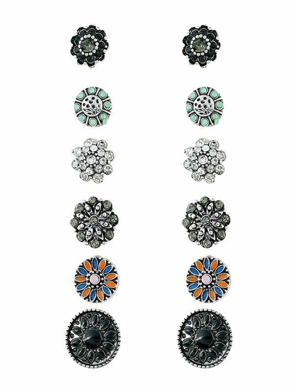 Multi Flower Shaped Stud Earring Set 6pairs
