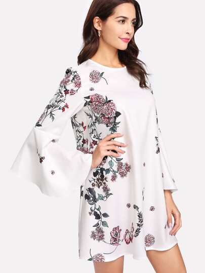 Flower Print Exaggerate Flounce Sleeve Dress